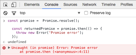 Google Chrome displays an error for exceptions thrown in promises