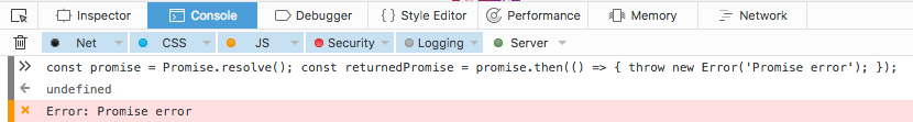 Firefox (version 51.0.1) displays an error for exceptions thrown in promises